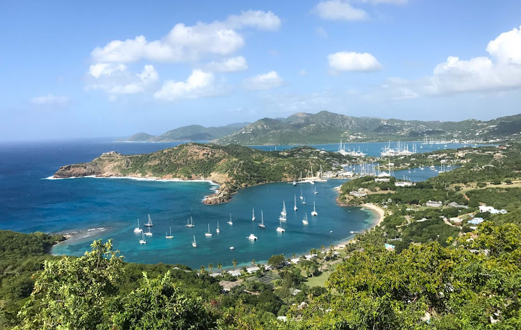 Antigua's English Harbour in Antigua, which dates to the late 1700s, seen from Shirley Heights.