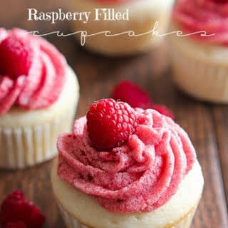 Raspberry Filled Cupcakes.