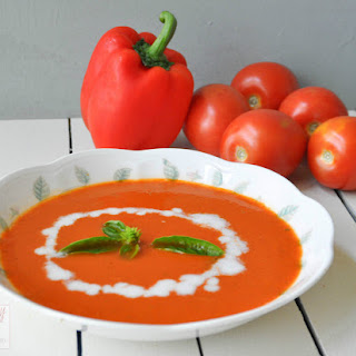 Creamy Tomato and Roasted Red Bell Pepper Soup