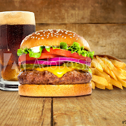 Cheese Burger w/ French Fries and soft Drink Can