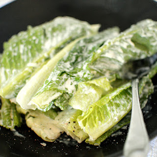 Romaine Hearts with Caesar Salad Dressing.