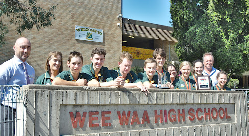 HOUSTON, HERE WE COME: The Wee Waa High School robotics team, the Bush Bots,flanked by acting principal Arron Stevens and State Member for Barwon Kevin Humphries are mentor Sharon Grellman, Sam Galagher, Noah Platt, Nicholas Morrison, Thomas Johnson, Michael Horne, mentor Jo Horne, Alice Haire, Cait Downes and Emily Shearin. Absent is mentor Steve Druce.