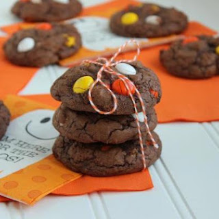 White Chocolate Candy Corn M&M Brownie Cookies