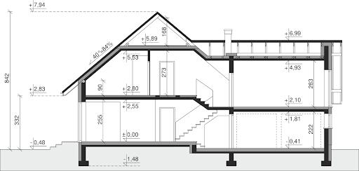 Dom przy Cyprysowej 15 K6 - Przekrój