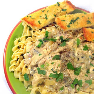 Chicken Mushroom Stroganoff over Egg Noodles.