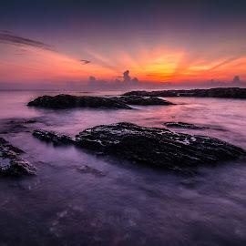 Golden Hour at Teluk Bidara by Vicneswaran Kuppusamy - Landscapes Sunsets & Sunrises ( sunrises, seascape, landscape, slow shutter, golden hour,  )