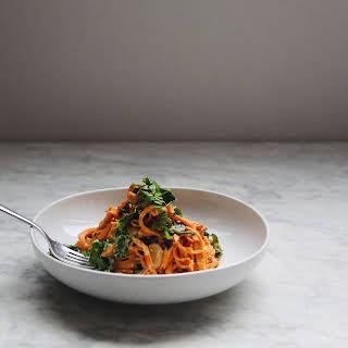 Sweet Potato Noodles + Roasted Garlic Cashew Sauce.