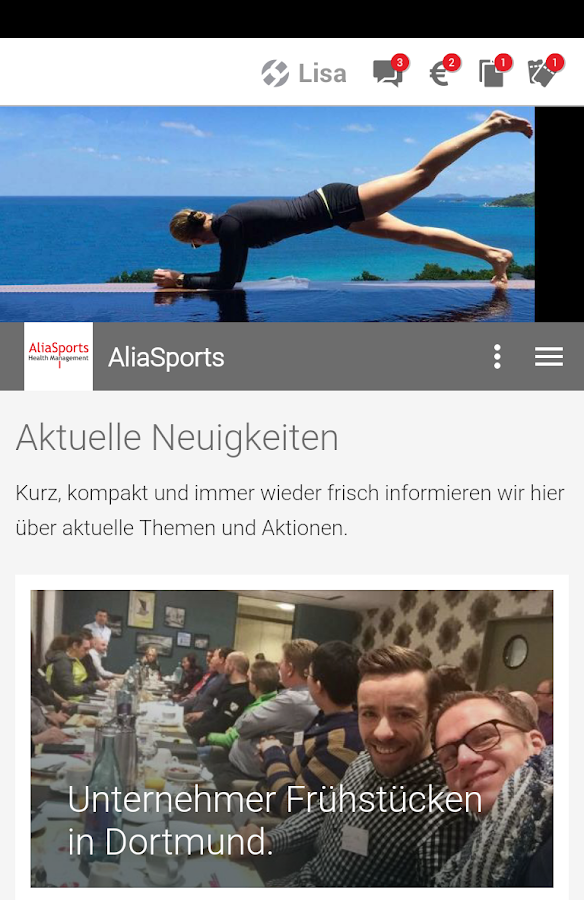 Aliasports - Healthmanagement- screenshot