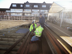 Photo: The plank laying team taking advantage of the decent weather - Saturday 11th January