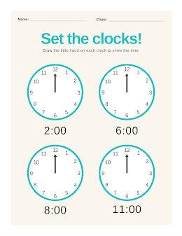 Set the Clocks - Worksheet item