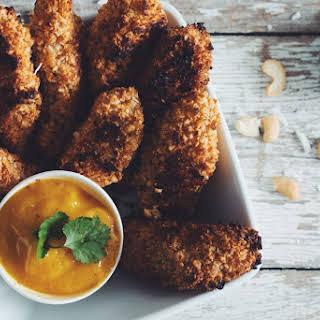 Crunchy Coconut Cashew Chik'un Fingers & Mango Dipping Sauce.