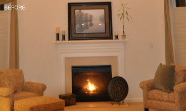 Photo: (Before) Fireplace mantle, builder's best KJ's Downigtown, PA
