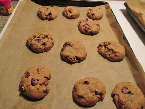 Chewy, No-mixer, Chocolate Chip Pecan Cookies.  Half Batch Shown Cooling.