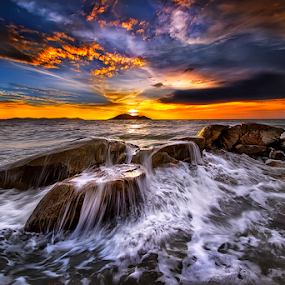 Overlays waves when Sunset by Dany Fachry - Landscapes Beaches (  )
