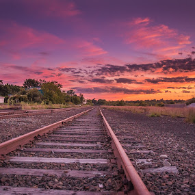 Track to Clouds by Michael Otero - Landscapes Sunsets & Sunrises ( train tracks, railroad, track, yellow, tracks, vibrant, contrast, susnet, leading lines, sky, red, blue, train, pink, high contrast, bright colors, cloud formatoins )
