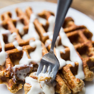 Whole Grain Carrot Cake Waffles with Maple Cream Cheese Glaze, for Two