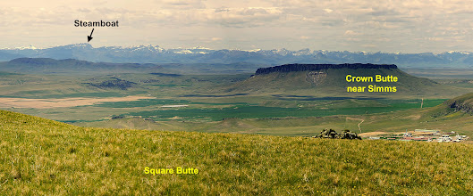 """Photo: Amy and I camped at the top of Steamboat on Saturday night (during a 21-mile hike). Steamboat is sometimes referred to as """"Steamboat Mtn. East"""" on maps.  Photo of Rocky Mountain Front courtesy of """"wiredroach"""" - taken from Square Butte west of Great Falls."""