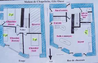 Photo: Plan détaillé des 2 niveaux du gîte de Chapelèche.