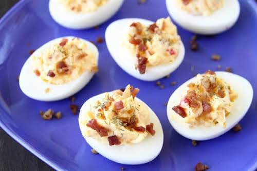"""Pimento Cheese Deviled Eggs""""Think traditional deviled eggs infused with all the flavor..."""