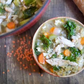 Lemon Chicken Soup with Lentils, Kale, & Beans.