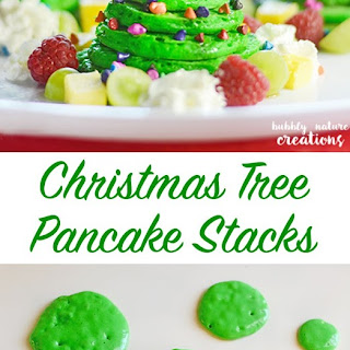 Christmas Tree Pancake Stacks with Almond Flavored Pancakes