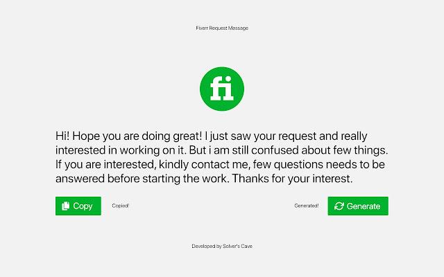 Fiverr Request Message