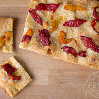 Focaccia with Red & Yellow Roasted Peppers.