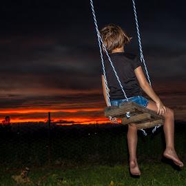 Swinging sunset by Morne Kotze - Babies & Children Children Candids