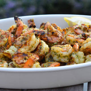 Grilled Pesto Shrimp.