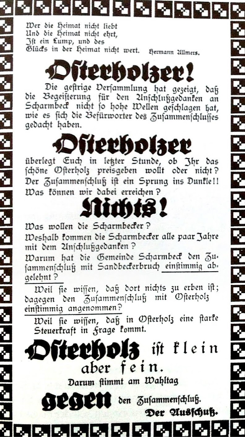 Fleckenausschuss Osterholz 1926