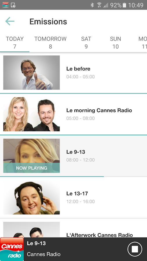 Cannes Radio – Capture d'écran