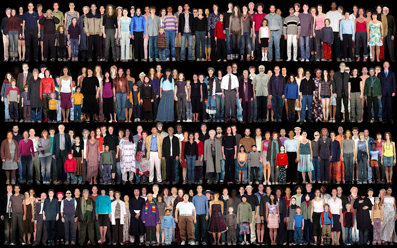 Photo: Everyone who appears in the still movie Nachtwacht II, which was projected at a makeshift indoor/outdoor kino at the Barkenhof Museum in the village of Worpswede in Germany in continuous variations every evening during the Fall of 2009. These 220 individuals were seen, each in multiple layers of clothes and reveals, in everchanging assemblies.