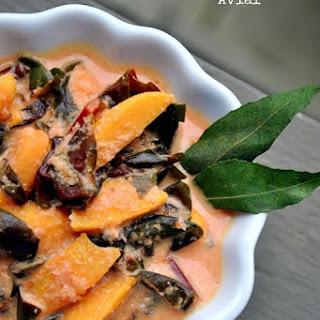 Cheera Chakkakuru Avial–Amaranth Jackfruit Seeds in a Spiced Coconut Sauce