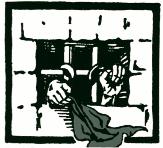 Grafik: Gefängnisgitter, eine Hand mit Tuch, die andere zur Faust geballt.