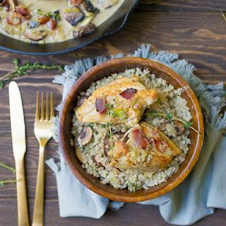 Creamy Mushroom Bacon Chicken with Cauliflower Rice Risotto (Paleo, Whole30) Recipe