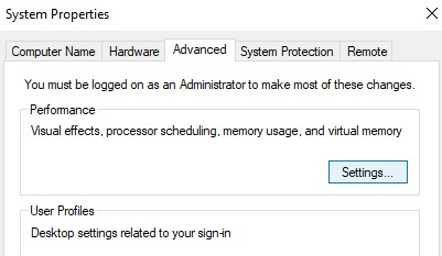 """Settings"""" under the """"Performance"""