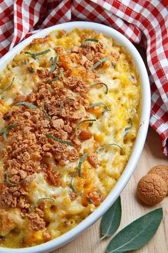 "Pumpkin Mac n Cheese with Amaretti Crust ""A creamy mac and cheese..."