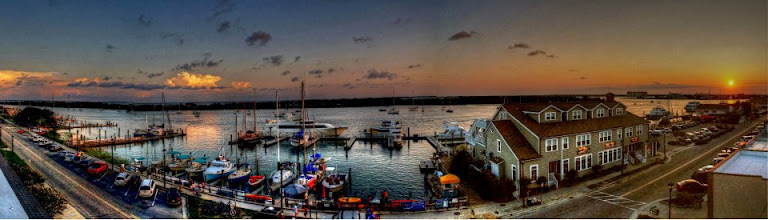 Photo: Front Street, Beaufort, NC at Sunset - 7-shot panorama taken from the Inlet Inn. Photo by Chadwick descendant Lisa Margolis.
