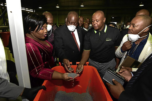 President Cyril Ramaphosa visits Afriwaste, which recycles plastic waste. /elmond jiyane