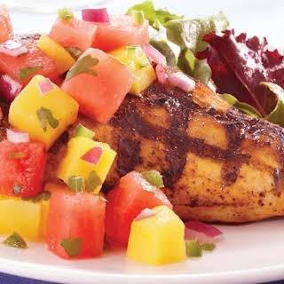 Chicken with Watermelon-Mango Salsa.