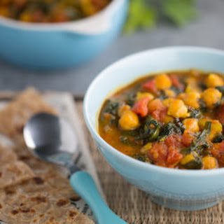 Curried Chickpeas with Tomatoes and Spinach.