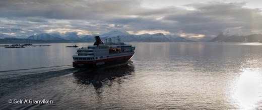 Photo: Hurtigruten (or the Coastal Express) Nordkapp leaving Molde