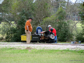 Photo: Bill Smith and Vance Nickerson looking at a dead in its track steam loco.     HALS Chili Fest Meet 2014-0301 RPW
