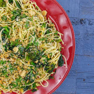 Spaghetti Aglio e Olio (Garlic and Oil) with Broccoli Rabe, Preserved Lemon and Breadcrumbs.
