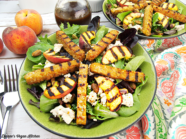 Grilled Tempeh Salad with Peaches and Pistachios Recipe