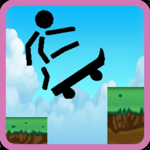 Skater skateboard stickman LOGO-APP點子