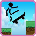 Skater skateboard stickman icon
