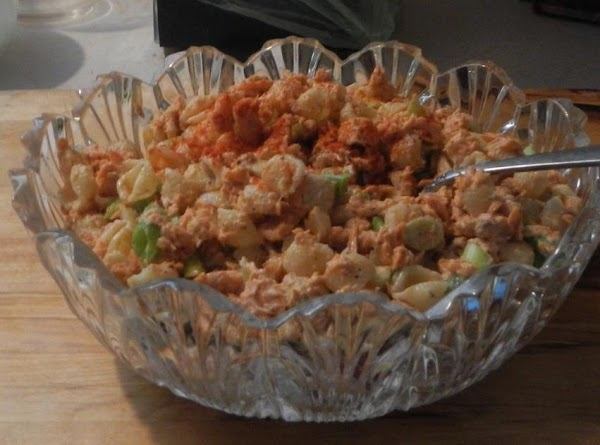 Pile all into a pretty bowl. Top with cooked eggs. Cover and keep cool till serving...