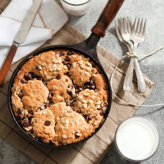 Chocolate Chip Oatmeal-Peanut Butter Skillet Cookie.