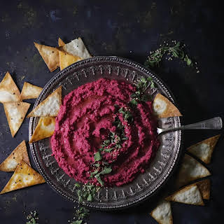 Beetroot Hummus with Homemade Tortilla Chips.